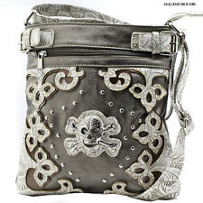 NEW W28 SKULL PEWTER WESTERN RHINESTONE HIPSTER CROSSBODY BAG Concealed WEAPON
