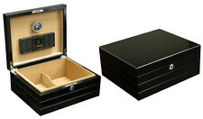 Black 50 Cigar Humidor Case w/ Humidifier / Hygrometer - The Onyx