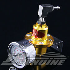 1-160 PSI ADJUSTABLE FUEL PRESSURE REGULATOR KIT W/ GAUGE GOLD - UNIVERSAL