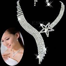 Women Luxury Crystal Wedding Party Bridal Jewelry Sets Tassel Necklace Earrings