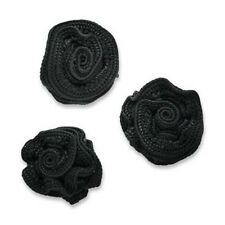 BLACK RUFFLED ROSETTE FLOWER APPLIQUE PACK OF THREE 2481-B