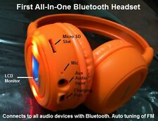 Bluetooth Stereo Headset with LCD phone answering, FM and Micro SD Slot