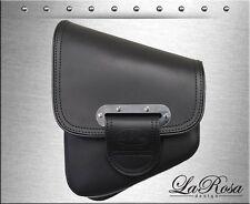 La Rosa Black Leather Slim Line Harley Softail Chopper Bobber Left Saddle Bag