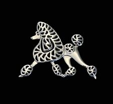 Poodle Running Dog Brooch or Pin -Fashion Jewellery Silver Plated, Stud Back