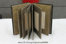 China Folk Collect Wood Inlay jade carved Dragon Buddhist scriptures books