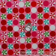 BonEful FABRIC FQ Cotton Quilt Pink Red White Green Peppermint Dot Xmas Candy US