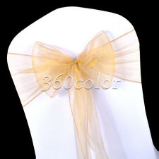 50 Organza Sheer Chair Sashes Bow Wedding Party Cover Reception Decorations
