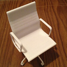 "Famous Office Chair miniature 3D printed in white plastic 4.4"" tall"