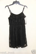 BCX Black Spaghetti Strap Lace Ruffled Belted Summer Dress Juniors Size M