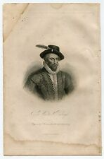 SIR WALTER RALEIGH 1888 ANTIQUE PRINT - BANCROFT - HISTORY OF UNITED STATES