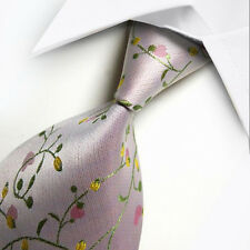 New Silk Tie Pink Green Floral WOVEN JACQUARD Classic Men's Tie Necktie NP025
