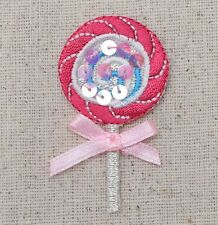 Iron On Embroidered Applique Patch Pink Lollipop with Sheer Bow/Sequins Candy
