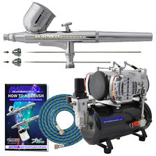 3 TIP PRO SET Gravity Dual-Action AIRBRUSH KIT Twin Piston Air Compressor Hobby