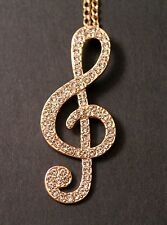 Rhinestone Gold Tone G Clef Musical Note Pendant Necklace Free Jewelry Box/Ship