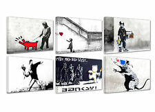 "Banksy/Graffiti/Street Art/set of 6 new framed canvas prints/ 12""x 8""x 0,70"""