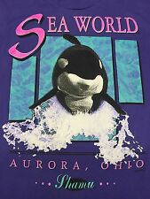 Vintage Sea World T-Shirt Soft Thin Shamu Killer Whale Aurora Ohio Fish Aquatic
