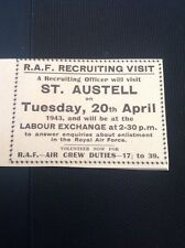 A2-3 1943 Advert R A F Recruiting Visit St Austell Labour Exchange