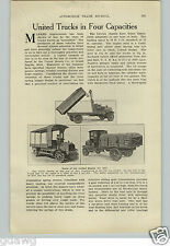 1917 PAPER AD 2 Sided Article United Motor Truck 2 3 1/2 5 Ton Dump
