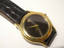 Movado Model 87.E4.0823 Ladies Gold Plated Steel Museum Watch Black Dial