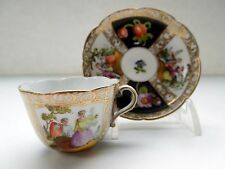 Dresden Flowers Demitasse Cup Saucer Watteau Scenes Gilding HP Scalloped Mini