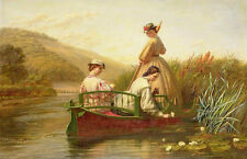 Wholesale oil painting young girl boating in summer afternoon Picking Lotus 36""
