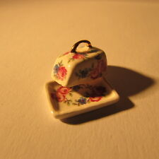 Cheese dish ~ Ceramic ~ Floral ~ Doll House Miniature ~ 1/12th scale