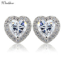 18K White Gold GP 3 Claw CZ Love Heart Earrings w/ 925 Sterling Silver Ear Stud