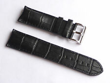 Quality Lug 24mm Black Genuine Leather Alligator Strap Silver Buckle