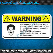 WARNING BORAT Funny Joke Car Sticker Decal for Dash or Visor