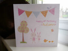 Handmade Personalised Rabbits Big Little Sister Birthday Card 1 2 3 4 5 6 7 8 9
