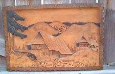 "Large Vintage Wood Carved Picture houses mountains 19 1/2 "" by 13 "" heavy MOD"