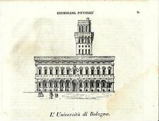 Stampa antica BOLOGNA Palazzo dell' Università Cosmorama 1840 Old antique print