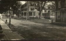 Damariscotta ME Street Showing Book Store at Right Real Photo Postcard c1910