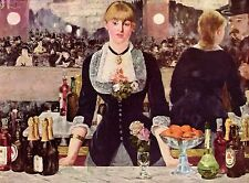 """1953 Vintage Full Color Art Plate """"A Bar At The Folies-Bergere"""" Manet Lithograph"""