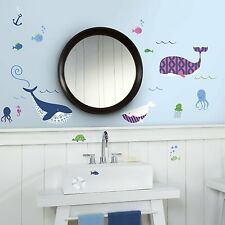 50 New SEA WHALES WALL DECALS Octopus Whales Stickers Tropical Bathroom Decor