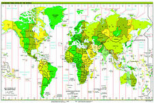 Enorme LAMINATO WORLD MAP POSTER Standard Time Zone politico ATLAS tabellone