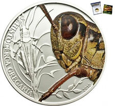 Rare 2010 Palau Large Silver Proof color $2 Grasshopper-mintage 1000-Box