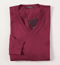 NWT $535 BALLANTYNE Raspberry-Burgundy Cotton-Cashmere Sweater Slim-Fit L V-Neck