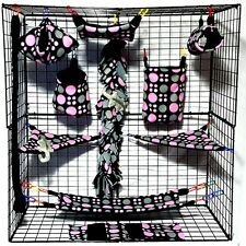 Multi Sized Dots * 15 piece Sugar Glider Cage set * Rat * double layer Fleece