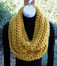 Mustard INFINITY SCARF Loop Cowl Chunky Bulky Handmade Soft Crochet Knit Winter