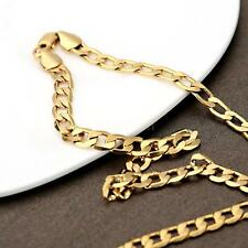 Classic Solid Cuban Curb Chain 18K Gold Filled Necklace Luxury Lady Girl Boy Men