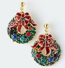 CHRISTMAS HOLIDAY WREATH WITH JEWEL COLORED RHINESTONES RED BOW DANGLE EARRINGS