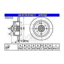 ATE 2 St. 410142 Bremsscheiben  24.0110-0142.1 VAG