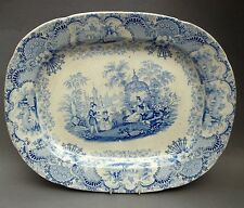"19thC Staffordshire MEAT PLATE / 16"" Platter ~ Blue & White Spanish Beauties"