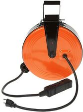 Heavy-Duty Extension Cord Electrical Retractable Reel 3-Outlets 30 ft. 16/3
