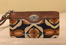 Fossil Key Per Blue Multi Flower Floral Wristlet Wallet Clutch