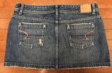 Womens American Eagle Distressed Denim Jean Mini Skirt Pink Crystals sz 12 GUC