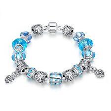 Damen Armband Bettelarmband Beads blau Zirkonia 20cm pl. mit Sterlingsilber T::A