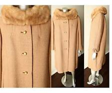Mink Boucle Wool Blonde Taupe Trapeze VTG 60s Fur Collar Taupe Brown Coat Sz M