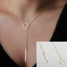 Personality Chain Unique Charming Gold Tone Plated Bar Circle Lariat Necklace UK